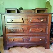 An old wooden dresser.