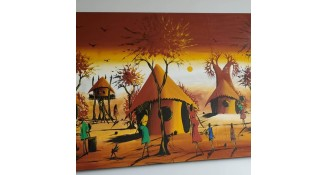 A canvas painting of people, trees and huts.