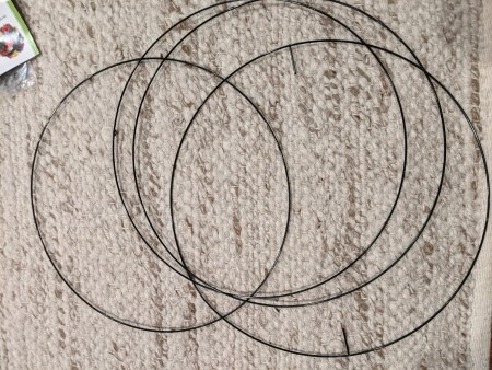 Separating the wire wreath forms.