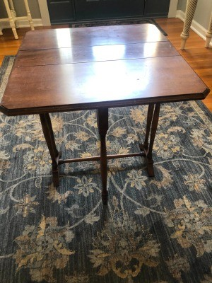 A drop leaf table at full size.