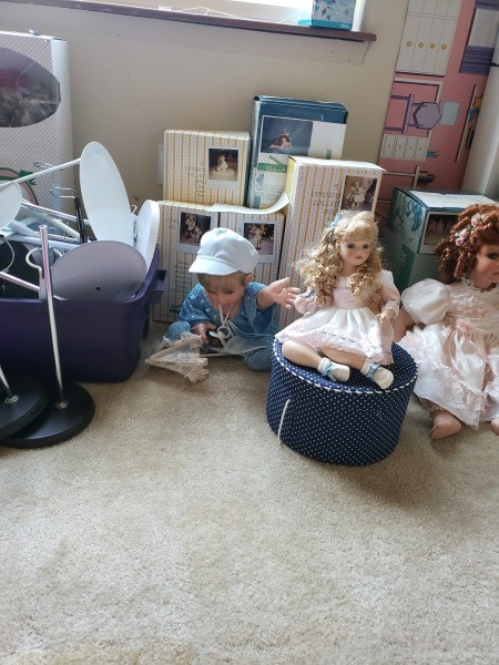 Collectible porcelain dolls.