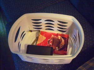 A laundry hamper to collect items.