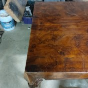 A wooden coffee table.