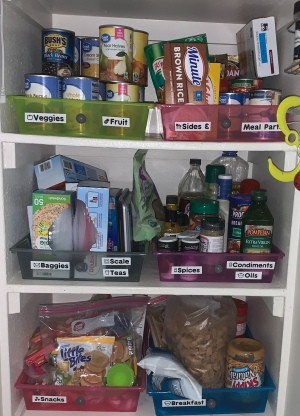 Craft drawers being used to organize a pantry.