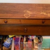 A small wooden desk.
