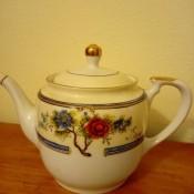 A decorative china teapot.