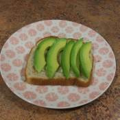 A slice of avocado toast.
