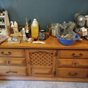 An Old Dresser with Two Mirrors and Cabinet?