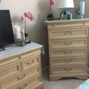 A bedroom dresser set.