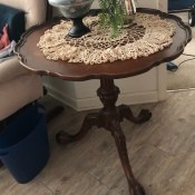 A wooden pie table.