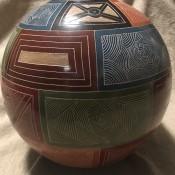 A decorated ceramic pot.