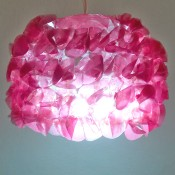 The completed lampshade when lit.