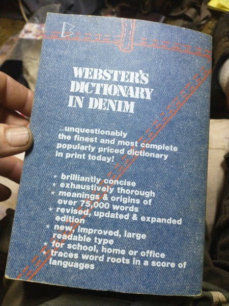 Back cover of a dictionary.