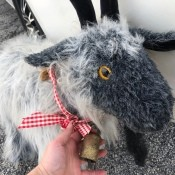 A goat stuffed animal.
