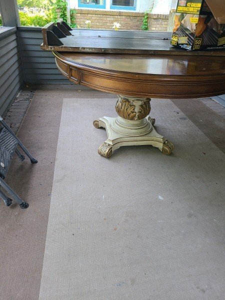 A wooden dining table.