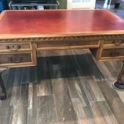 An antique wooden desk.