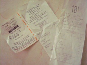 A collection of fast food receipts.