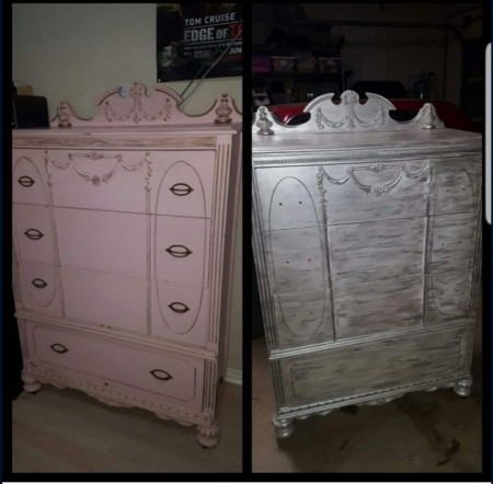 A picture of the same chest of drawers in two colors.