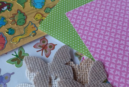 Supplies for origami corner bookmark.