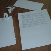 Using the blank back of a piece of junk mail as scratch paper.