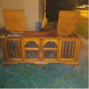 Pictures of an old console stereo.