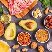 A collection of foods suitable for a keto diet.