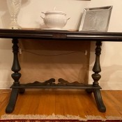 A small wooden end table.