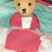 A stuffed teddy bear wearing a red dress.