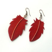 The completed velvet feather earrings.