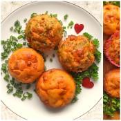 A plate of chorizo muffins.