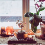 A feng shui display for a window.