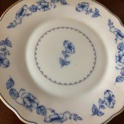 A blue and white china plate.