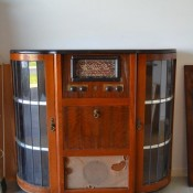 A console stereo cabinet.