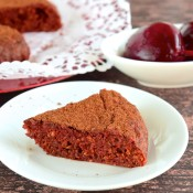 A slice of cake made from beetroots.