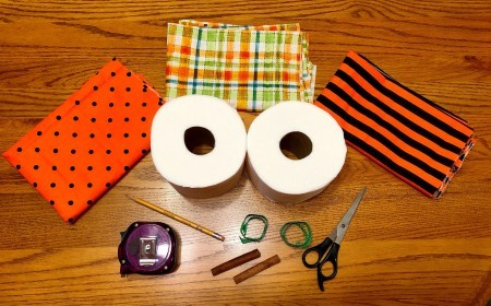 Supplies for Toilet Paper Pumpkins
