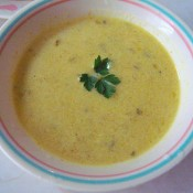 A bowl of Curried Apple Bisque