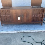 A Fleetwood console stereo cabinet.