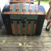 An old steamer trunk