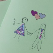 The completed wedding anniversary card.