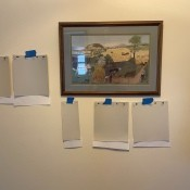 Paint Color Paint swatches taped to a wall. Tips