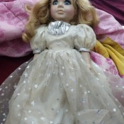 A doll with a starry skirt.