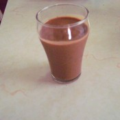 A glass of chocolate shake.
