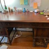 A vintage wooden desk.