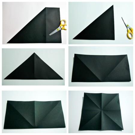 Folding origami bats.