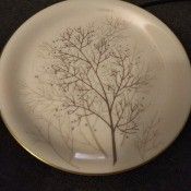 A plate with a decorative pattern.