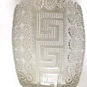A heavy decorative drinking glass.